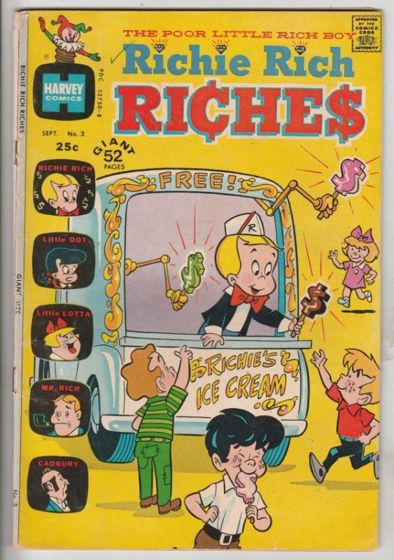 Richie Rich Riches #2 (Sep-72) VG+ Affordable-Grade Richie Rich