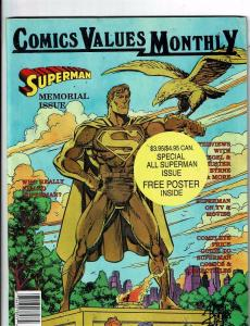 Comics Values Monthly Superman Memorial Issue Special Superman Poster Inclu J146