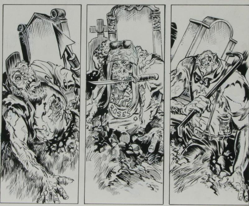 DEAN KOTZ Original Published Art, TRAILER PARK of TERROR #6 page 27, Zombies