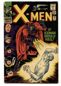 X-MEN #18 1966-MARVEL COMICS-ICEMAN-MAGNETO-AYERS ART VG+