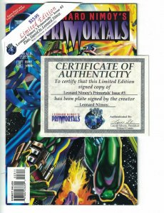 Primortals #3 VF plated signed by Leonard Nimoy - limited w/COA - Tekno Comix
