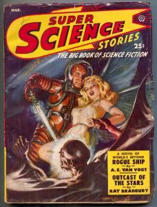 Super Science Stories Pulp March 1950- Bradbury- Arthur C Clarke FN+