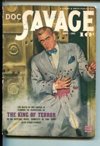 Doc Savage Pulp April 1943- King of Terror- Bill Barnes VG