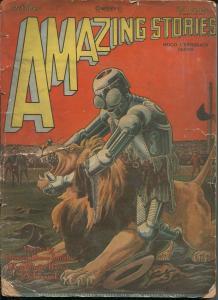 Amazing StoriesPulp October 1928-ROBOT  WRESTLES LION PULP COVER- pr/fr