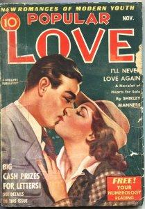 POPULAR LOVE-1939 NOV-SHIRLEY MANNERS-NINA KANE-DOROTHY QUICK-ROMANCE-PULP