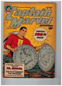 Captain Marvel Adventures # 100 VG/FN Fawcett Golden Age Comic Book Shazam JM1