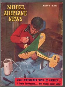 Model Airplane News 3/1949-photo cover-photos-diagrams-builder tips-VG