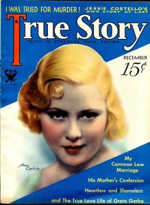 True Story 12/1933-MacFadden-Mary Carlisle MGM Star-Greta Garbo-pulp thrills-VF