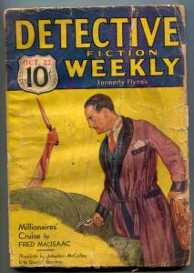 Detective Fiction Weekly Pulp October 22 1932- Millionaires Cruise F/G