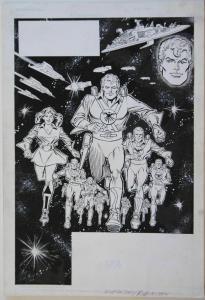 CARMINE INFANTINO / JOE RUBENSTEIN original art, GALAXY KNIGHTS Splash, 11x16