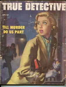 True Detective 9/1953-terrified woman cover-Osni Brown-pulp exploitation-FR/G