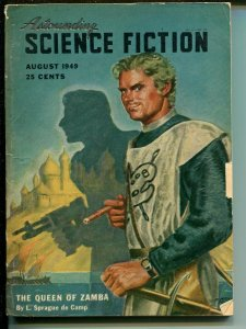 ASTOUNDING SCIENCE FICTION 8/1949-PULP-L RON HUBBARD-MACDONALD-BROWN-vg