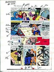 Avengers #222 1982 Hand Painted  Colorguide Page 9-She-Hulk,Thor, Ironman-VG