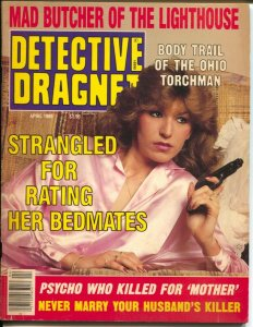 Detective  Dragnet 4/1989-gun moll cover-lurid crime-exploitation-pulp style-VG