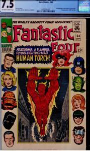 Fantastic Four #54 CGC 7.5 OW/W  3rd app. Black Panther! Black Bolt, Inhumans
