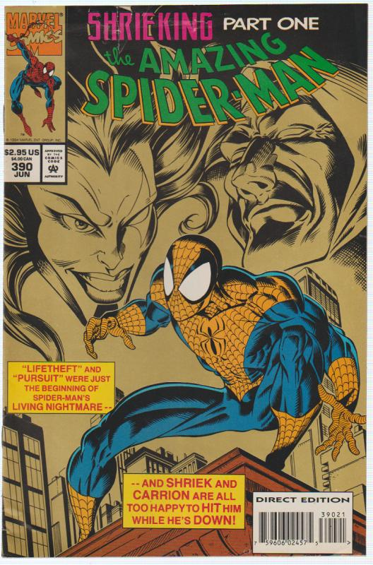 THE AMAZING SPIDER-MAN #390 SHRIEKING PART 1 MARVEL 1994