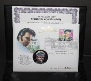 1993 Elvis Presley First Day Issue One Ounce Silver Proof Coin
