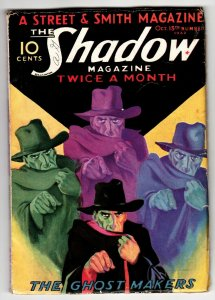 SHADOW 1932 October 15-The Ghost Makers-STREET AND SMITH-RARE PULP vg/fn