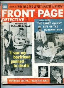 FRONT PAGE DETECTIVE-AUG 1958-WIDOW-VIOLENT-GUNNED-KIDNAPED-PYROMANIACS FR