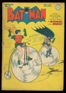 BATMAN #29 1945-BICYCLE COVER-DC COMICS VG