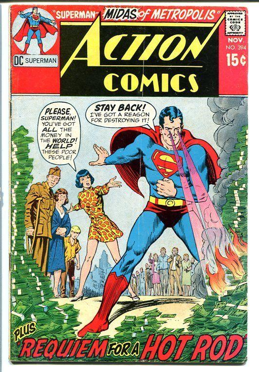 action comics 394 superman dc burning money cover vg hipcomic