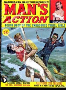 MAN'S ACTION 1960 SEP-PARACHUTE COVER - THRILL GIRLS- FN/VF