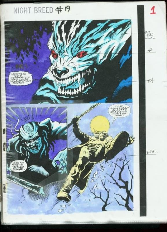 CLIVE BARKER'S NIGHT BREED #19 COLOR GUIDES PROD. ART- VG