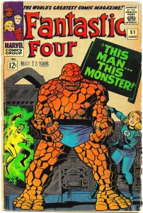 FANTASTIC FOUR #51 (June1966) 4.0 VG  A Jack Kirby / Stan Lee Classic!