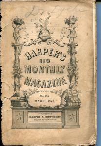 Harper's New Monthly Magazine 3/1873-pulp format-terrific interior art-G-