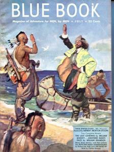 BLUE BOOK PULP-JULY 1947-FN-STOOPS COVER-JOHN D MACDONALD-BARRETT- REEVE FN