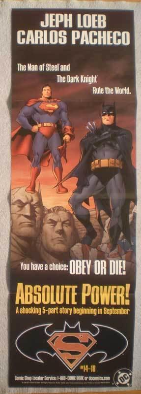 ABSOLUTE POWER! Promo Poster, 11x34, 2004, Unused, Superman, Batman