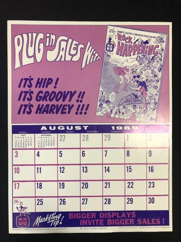 Calendar 1969.Rock Happening Harvey Comics Promo Sales Calendar Poster August 1969