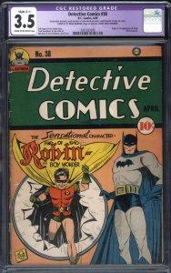 DETECTIVE COMICS #38 CGC 3.5 C-1-1st Robin appearance 2061027009