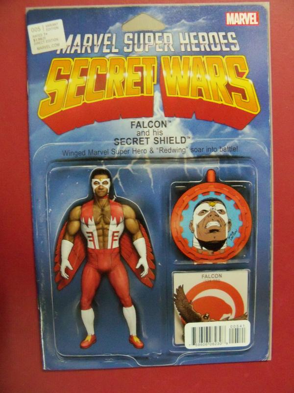 MARVEL SUPER HEROS SECRET WARS #5,FALCON  ACTION FIGURE VARIANT COVER