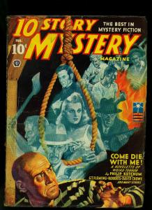 10 Story Mystery Pulp February 1943- Weird Menace- Hanging cover VG+