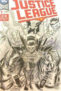 BATMAN WHO LAUGHS ORIGINAL SKETCH ART.Justice League 1 Blank