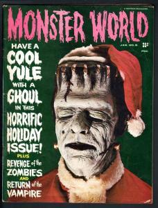 MONSTER WORLD #6-1965-FRANKENSTEIN CHRISTMAS COVER-TARANTULA-VAMPIRE-ZOMBIE VG