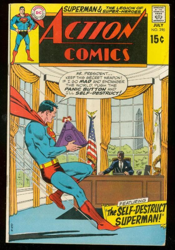 ACTION COMICS #390 1970- SUPERMAN-DC COMICS-OVAL OFFICE VG