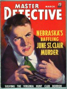 MASTER DETECTIVE MAR 1936-VG-JUDE ST. CLAIR MURDER-TRUE CRIME MAG VG
