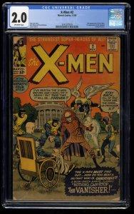 X-Men #2 CGC GD 2.0 Off White 1st Vanisher! Marvel Comics