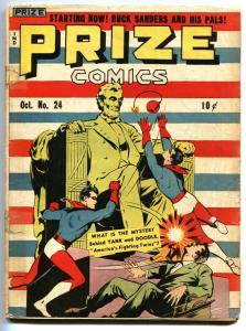Prize Comics #24 Frankenstein-Lincoln Memorial cvr-RARE-1942