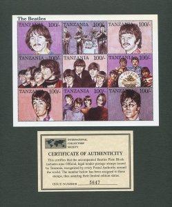 The Beatles Tanzania Commemorative Stamp Sheet  1995
