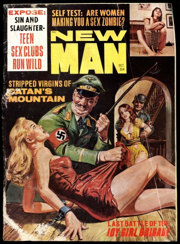 New Man Oct 1967-NORMAN SAUNDERS Nazi whipping cover-GGA