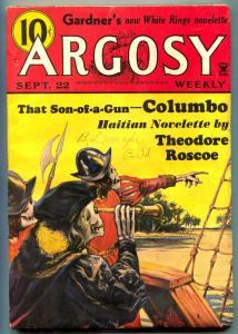 Argosy Pulp September 22 1934- Columbo- Skull cover VG