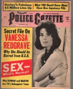 National Police Gazette 4/1969-Vanessa Redgrave-photo cover-exploitation-VG+