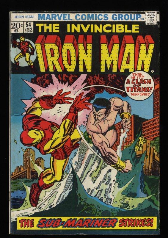 Iron Man #54 VG+ 4.5 White Pages 1st Moondragon!