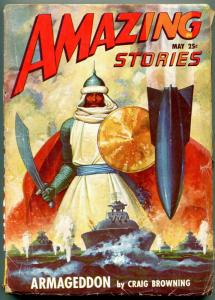 Amazing Stories Pulp May 1948- Armageddon- Wild cover- VG