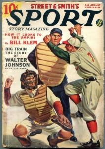 Sport Story Pulp August 1 1938- Walter Johnson- baseball cover G/VG