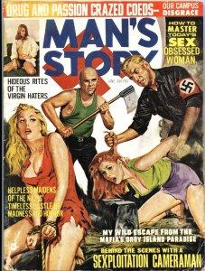 "MAN""S STORY 6/1966-NAZI TERROR TORTURE-CHEESECAKE-WEIRD MENACE-PULP"