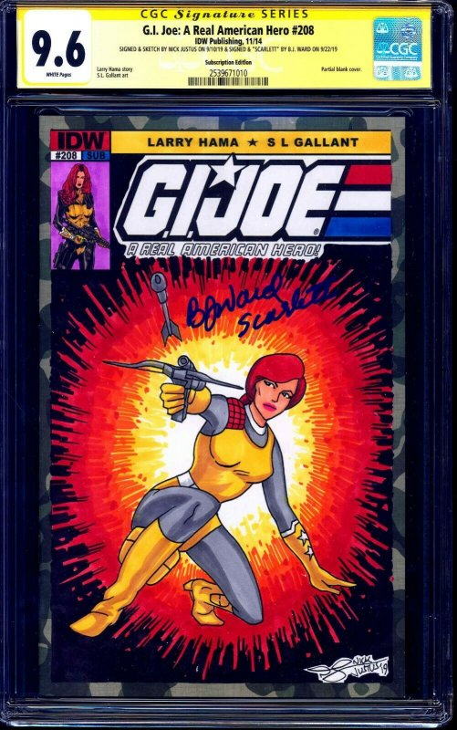 G.I. Joe #208 BLANK CGC SS 9.6 signed SKETCH signed BJ WARD VOICE OF SCARLETT